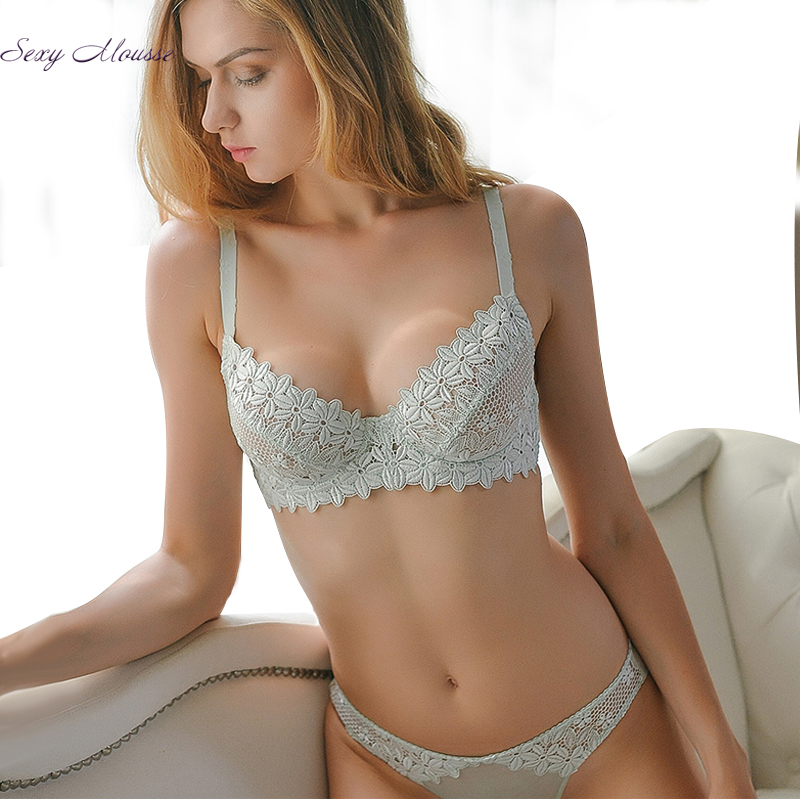 Sexy Mousse Ultra - thin cup lace sexy   bras     Set   women 's underwear   bras   thin summer
