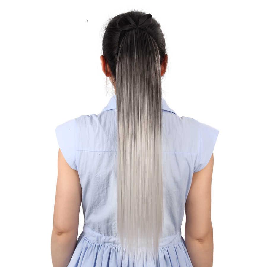 """Leeons 18 """"Zijdeachtige Rechte Synthetische Clip In Trekkoord Paardenstaart Haarstukje Met Haarspelden Hittebestendige Ombre Paardenstaart Extensions"""