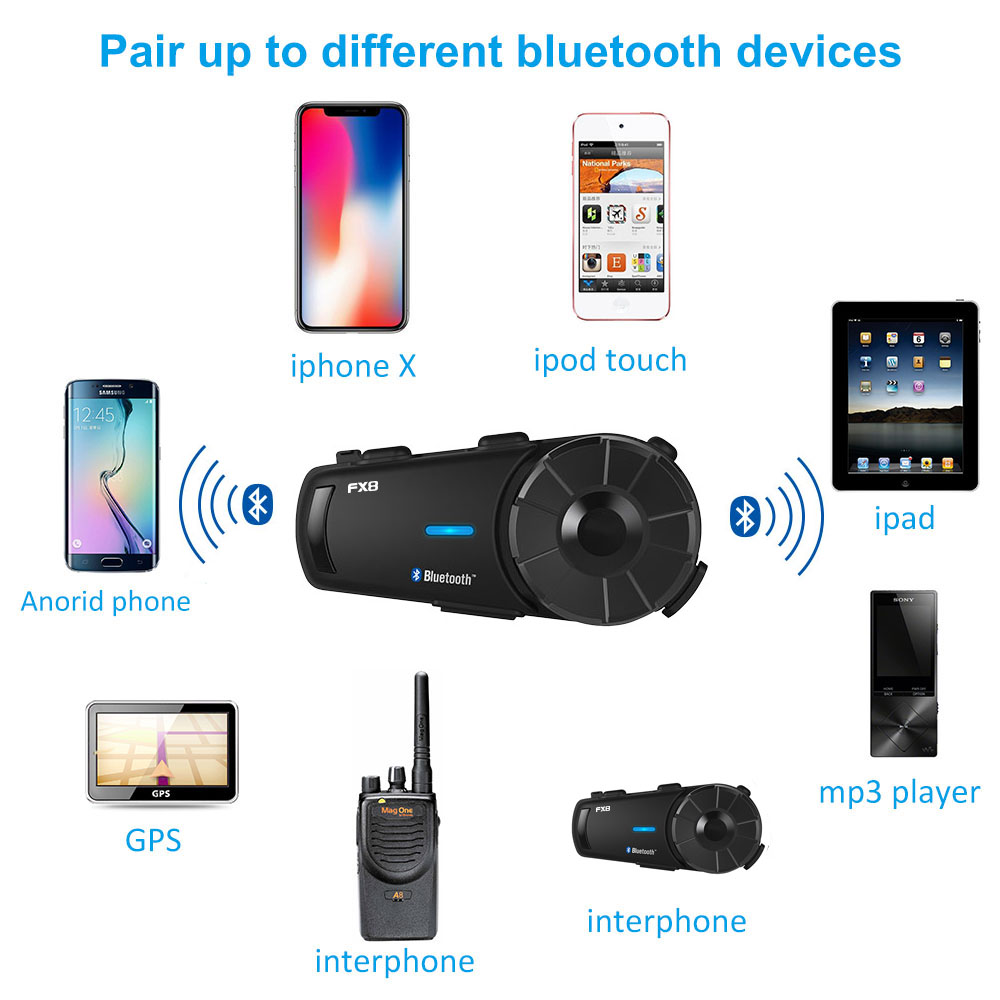 Fodsports Motorrad Helm Bluetooth Intercom Wasserdichte Moto Helm Headset 1000m 8 Reiter BT Sprech Intercomunicador FM