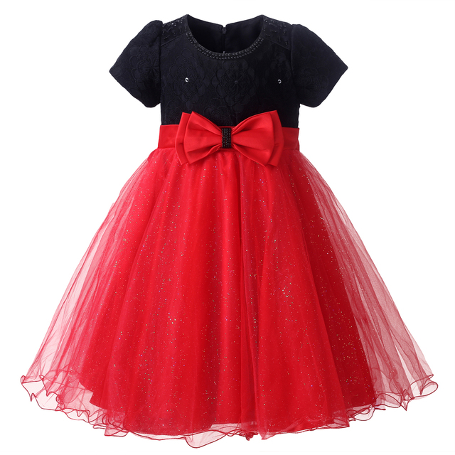 Cutestyels Red And Black Flower Girl Dresses Wedding Party Dresses