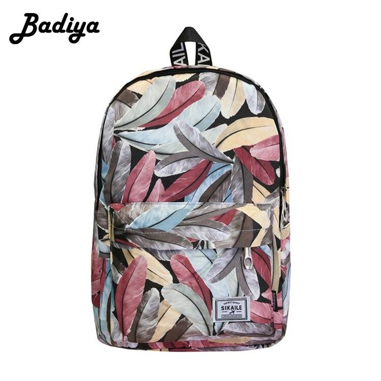 Casual Leaves Printing Backpack Pattern Female Shoulder Back Bag Fashion Classic Women Laptop Backpack Girls Schoolbag