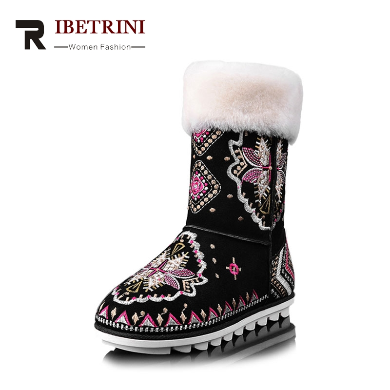 Фотография RIBETRINI 2018 Winter Cow Suede Fashion Embroider Ankle Snow Boots Low Heel Warm Fur Women Shoes Large Size 34-40