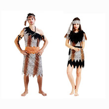 Couples Sexy Leopard Print Primitive Society Savage Cosplay Costume For Adults Stage Performance Masquerade Party Halloween