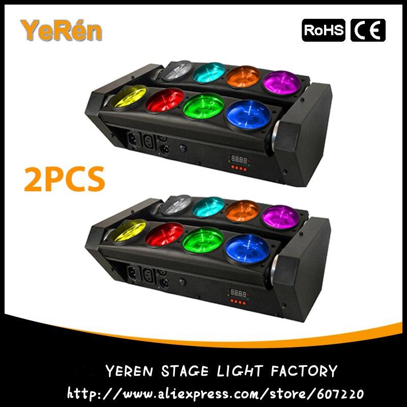 (2 шт.) Светодиодная лампа паук с движущейся головкой 8X10W RGBW Quad Color Led DJ Effect Light DJ Disco Light