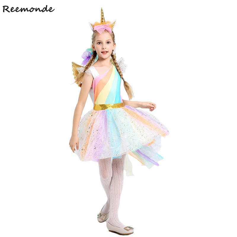 Rainbow Unicorn Cosplay Costumes Princess Dresses Hair Hoop Wing For Kids Girls Halloween Christmas Prom Sequined Tutu Clothes