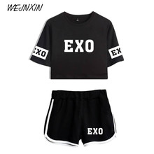 VAGROVSY Summer Kpop EXO Crop Tops + Shorts Pants Women's Sexy Two Piece Set Women Cotton Cauasl Tracksuit Stripe Lady Clothes(China)