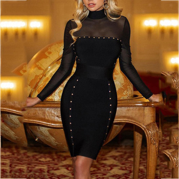 d54a3918703 Женское офисное платье сексуальный коктейль Вечерние платья декор из  заклепок сетчатая кокетка черное облегающее платье миди