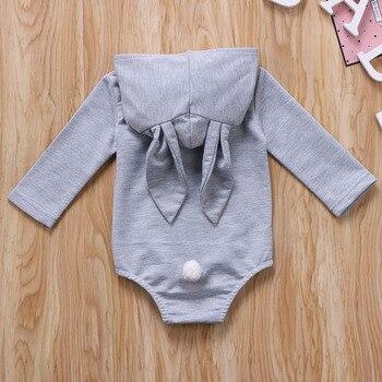 Infant Toddler Baby Girl Boys Hooded Sweatshirts Rabbit Ear Romper Cotton Bodysuit Hoodies 4