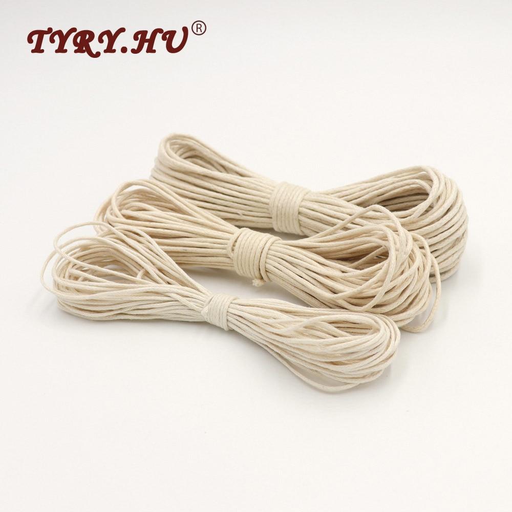 TYRY.HU 10M mumlu pamuk kordon takı yapımı için 1/1.5/1.8mm halat mumlu bükülmüş dize iplik hattı güçlü yumuşak bebek için güvenli