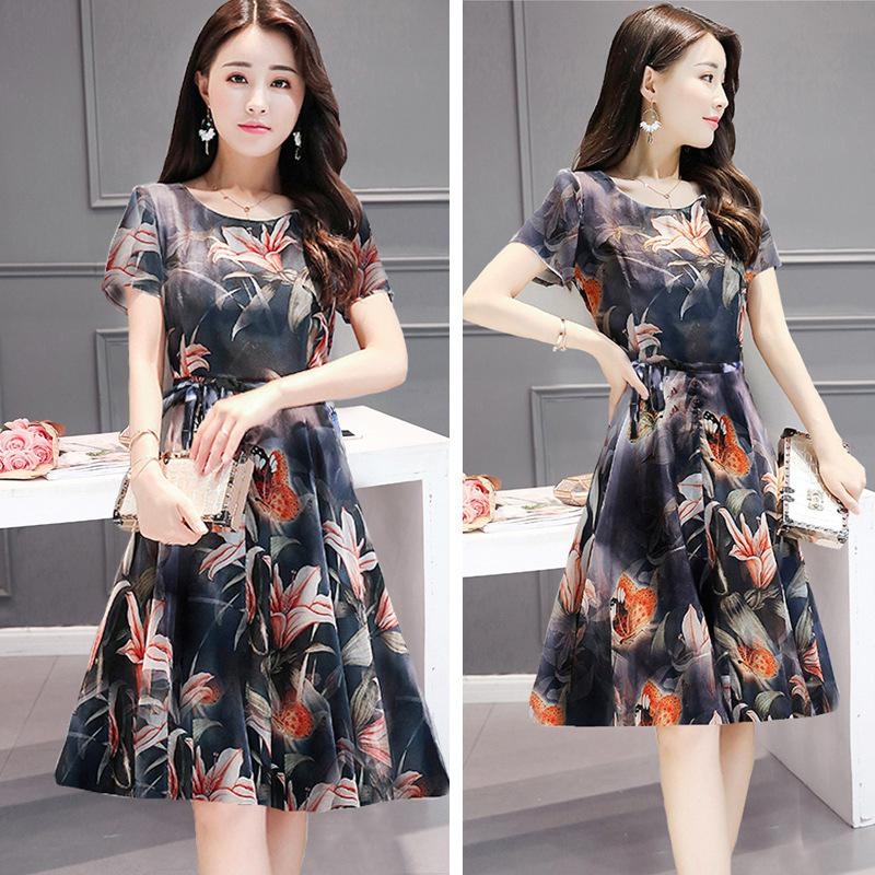 Yfashion Mesh Vintage Women Summer Elegant Pleated Medium length Floral Printed Casual Dresses Female Dress in Dresses from Women 39 s Clothing