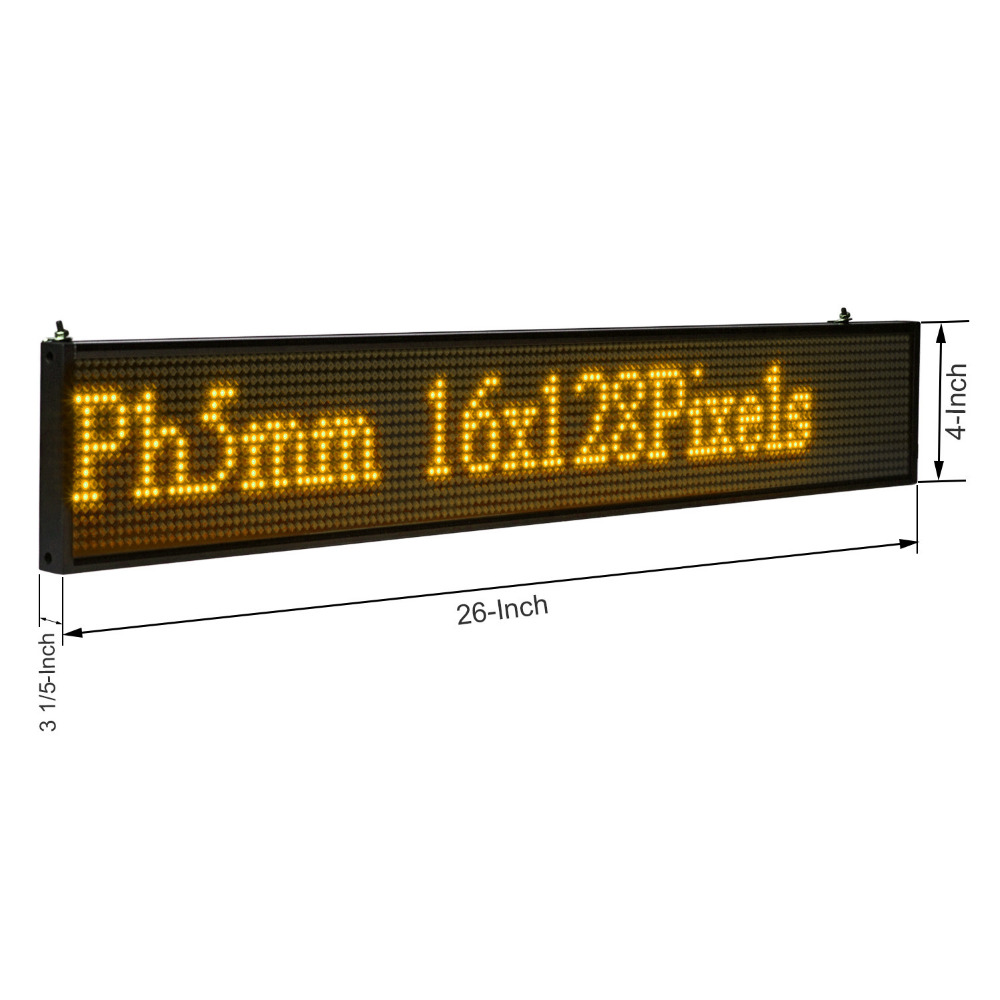 66CM LED Message Board P5 SMD 16 * 128 Yellow  WIFI  Wireless And Usb Programmable  Scrolling  Information  Message Advertising