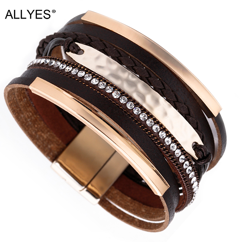 ALLYES Multilayer Leather Bracelet For Women Men Vintage Metal Bar Charm Braided Wide Wrap Bracelets & Bangles Woman Jewelry