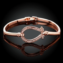 Good Quality 2019 New Fashion Jewelry rose Gold Colour Bracelets bangles Horse Shoe Bangle water drop Bracelet free shipping