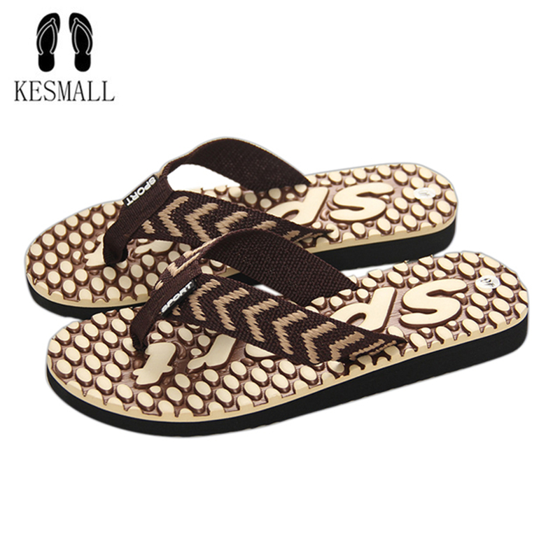 KESMALL 2018 Summer Beach Slippers Men Shoes Flip Flops Patchwork EVA Stripe Outside Massage Slipper Male Soft High Quality WS17 2016 soild women flip flops for summer outside slipper with cheap price and high quality for surprise gift xf 090