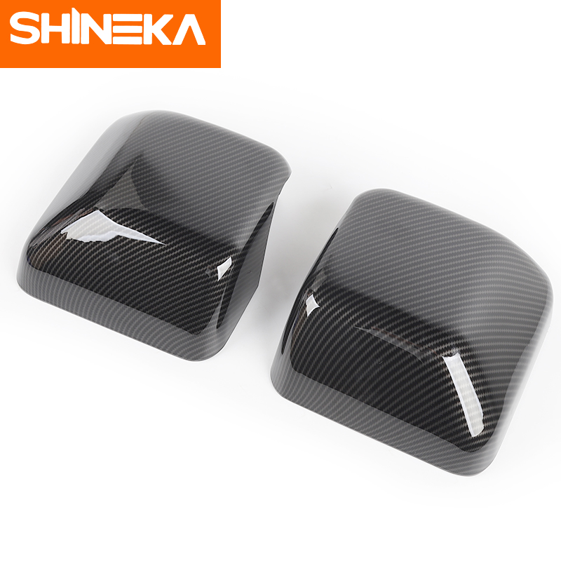 SHINEKA Car Sticker for Jeep Wrangler jl accessories Rearview Mirror Carbon Fiber Chrome Decoration Sticker for wrangler 2018 in Car Stickers from Automobiles Motorcycles