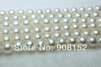 AAA Freshwater Big Pearl Necklace, Genuine Pearl Necklace, 9 10mm Perfect Round 42CM with 925 Silver Clasp