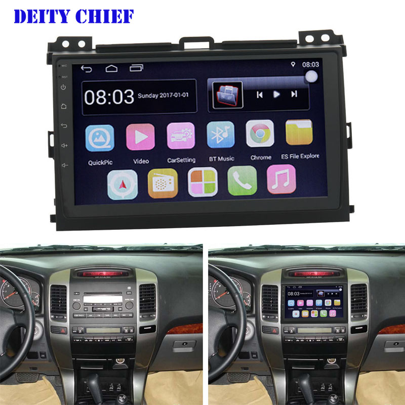 Car 9inch Android 2din Multimedia Player for TOYOTA PRADO 2004 2009 Quad Core GPS Navigation DVD
