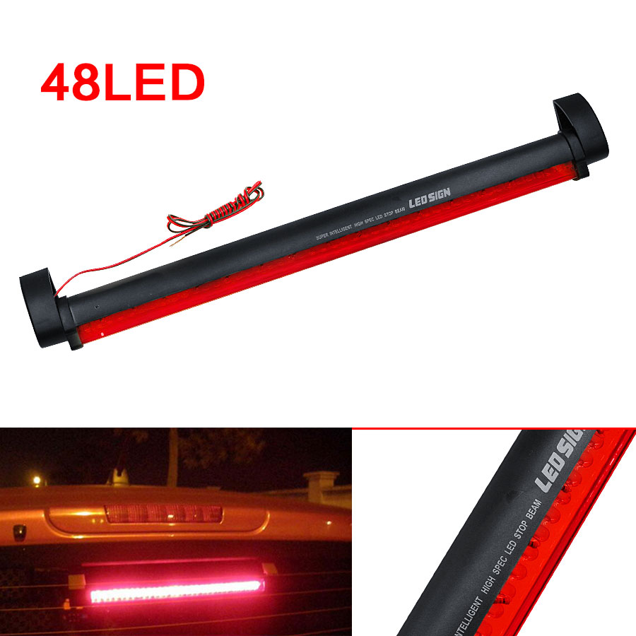 2016 New Additional Brake Lights 48 LED Red Car Auto Third Brake Lights Fog Stop Rear Tail Warning Lamp Bulb for DC12V Parking