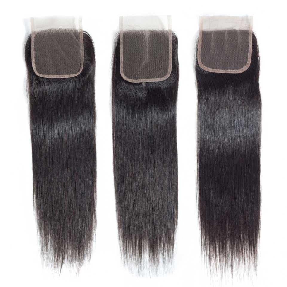 Straight Human Hair Bundles With Closure Peruvian Hair Weave 3 Bundles With Lace Closure Remy Extensions Natural Black