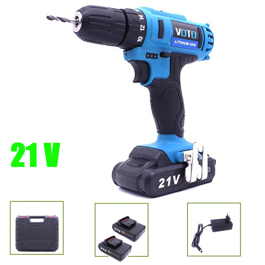VOTO 2*Battery Rechargeable Cordless Drill Electric Screwdriver Set Lithium Power Tools Screw Gun Driver 21V With Case Blue цены онлайн