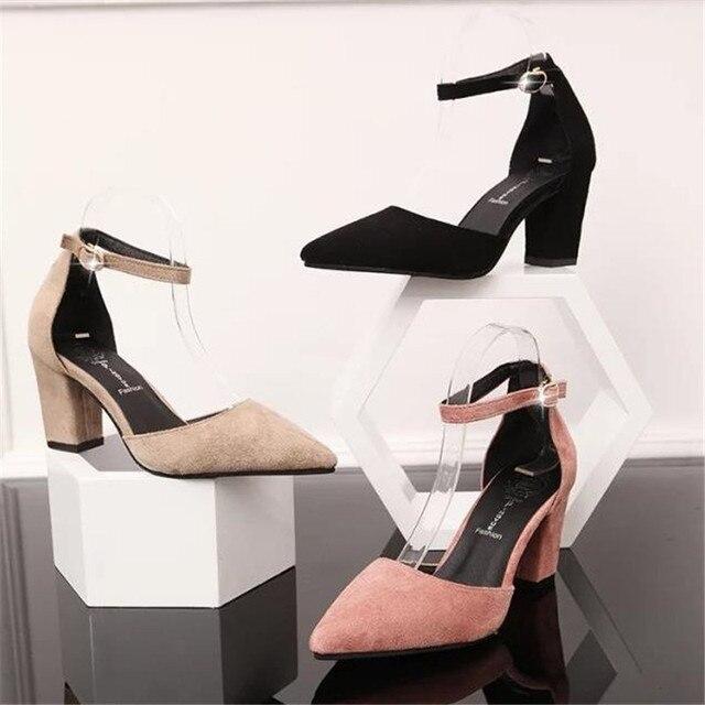 Весна и осень замши острым носом сандалии кнопку ремень туфли на высоком каблуке толстый каблук обувь одного женщина