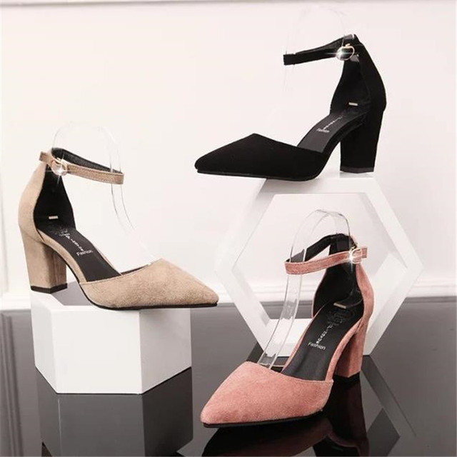 Spring and autumn suede pointed toe sandals button belt high-heeled shoes thick heel single shoes female