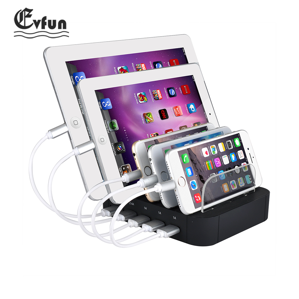 Evfun USB Charger Station 5 Port USB Charging Station Dock Desktop Stand Multi Port Charger for