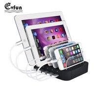 Evfun usb充電ステーション5ポートusb充電ステーションドックデスクトップスタンドマルチポート充電器電話iphone 7 ipadサムスン