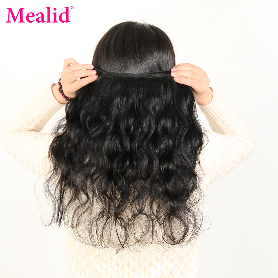 [Mealid] Brazilian Body Wave Bundles 5pcs Non-remy Natural Color 30 Inch Human Hair Bundles