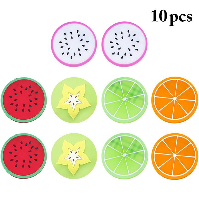 Hot 10pcs Round Coaster Fruit Shape Silicone Cup Pad Slip Insulation Pad Cup Mat Pad Tea Coffee Mug Drink Holder Coaster