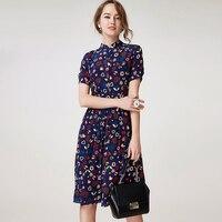 100% Silk Crepe Women Dress Pure Silk Fabric Women Floral Printed Silk Dress Vintage Summer Dress New Office Dress
