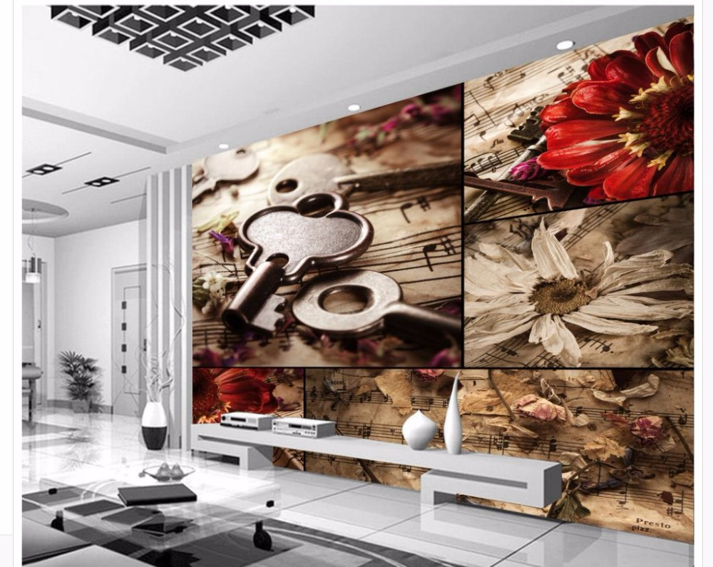 Us 135 55 Offcustom Any Size Mural Wallpaper Home Decor Living Room Wall Covering Original European Retro Music Flower Tv Background Wall In