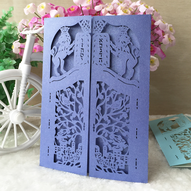 50pcs Jewish Bar Bat Mitzvah Wedding Invitations Card Decoration Birthday Party Blank Postcard Thank you Best