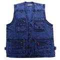 2016 Men's Denim Vest Walking Travel Vests Sleeveless Jean Jacket Waistcoat Vest Reporter Photographer Vest