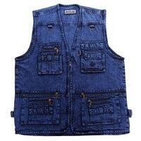 2016 Men S Denim Vest Outdoor Walking Travel Vests Sleeveless Jean Jacket Waistcoat Vest Reporter Photographer