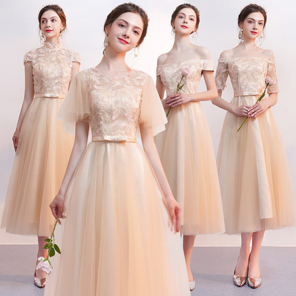 2018new stock plus size women pregnant wedding party Bridesmaid Dresses  organza sexy romantic A line champagne dresses jyx8106 42b03b802915