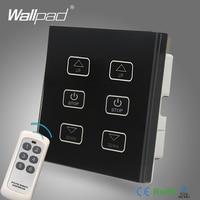 Smart Home Double Fan Remote And Touch Switch Wallpad Black Glass 6 Gangs Control 2 Fan