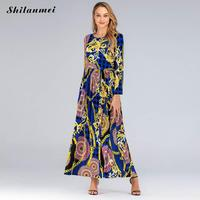 Women Plus Size 6xl 5xl Party Night Long Dress Summer Elegant Long Sleeve Blue Maxi Dresses Spring Autumn Floral Printed Vestido