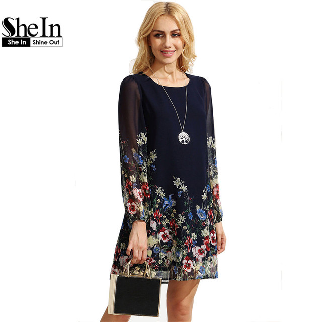 SheIn Повседневная Boho Осень Платья Для Женщин Многоцветный Шею Длинным Рукавом Цветочный Печати Прямо Шифон Dress