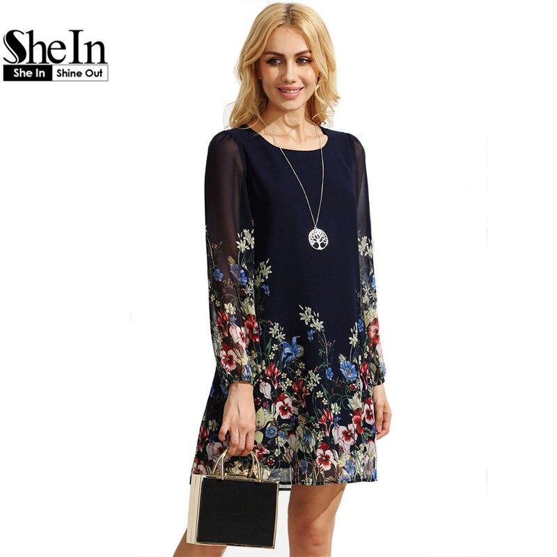 Shein boho ocasional otoño vestidos para las mujeres multicolor cuello redondo m