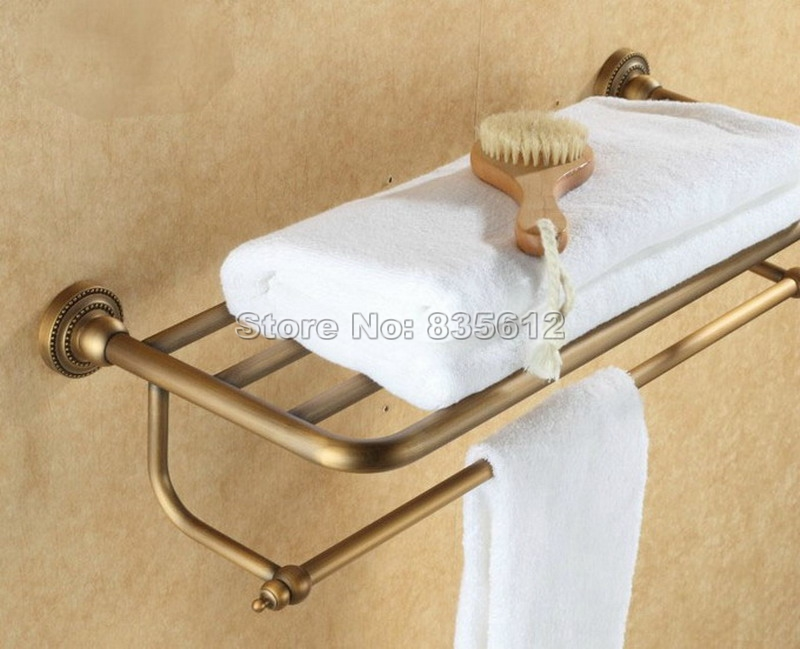 Antique Brass Wall Mounted Bathroom Towel Rack Shelf Rails Double Bar Wba084 wholesale and retail new design wall mounted towel shelf basket wall mounted brass antique towel rack