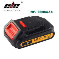 Eleoption 20V 2000mAh Li Ion Rechargeable Power Tool Battery For DEWALT DCB203 DCB181 DCB180 DCB200 DCB201
