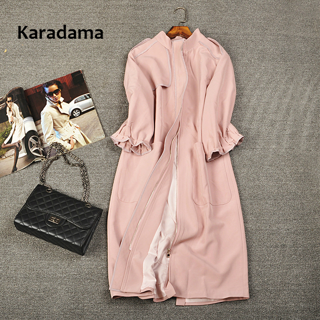 Europe station 2017 autumn New Arrival Fashion Knitted Three Quarter sleeve Long O-neck Zipper Slim Solid women Trench plus size