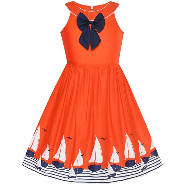 d655ab901c8 Girls Dress Navy blue Dot Sea Fish Ocean Beach Halter Dress Cotton 2018  Summer Princess Wedding Party Size 6-12