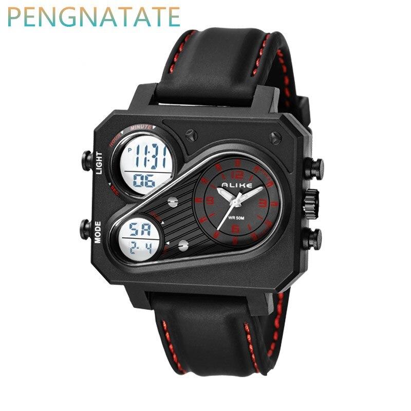 GLEICHERMAßEN Uhren Männer Sportuhr Mann Uhr military 2017 luxus marke Schwarz relogio 1545 masculino LED digital armbanduhr wasserdicht