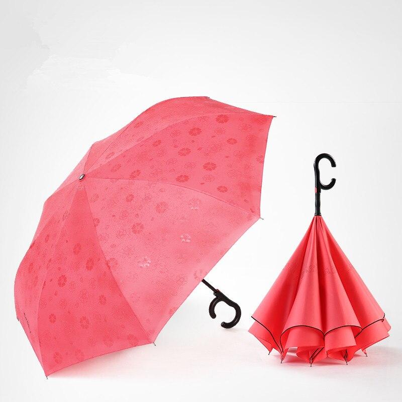 115 cm 2-3person auto ouvert c-crochet agrandir double couches inverse mains libres parapluie inversé eau fleur magique debout parasol - 2
