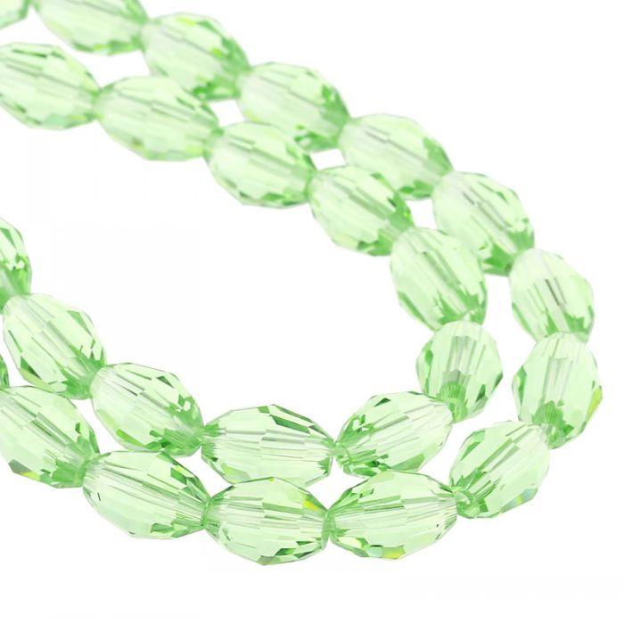 "DoreenBeads Crystal Glass Loose Beads Oval Green Faceted 8mm <font><b>x</b></font> 6mm(<font><b>3</b></font>/<font><b>8</b></font>"" <font><b>x</b></font> 2/<font><b>8</b></font>""),58.5cm(<font><b>23</b></font>"")),2 Strands(approx 72PCs/Strand)"