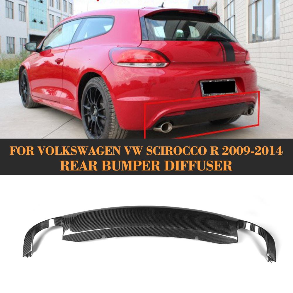 O Style carbon fiber rear bumper diffuser lip for Volkswagen VW Scirocco R 09 14 Non Standard Black FRP dual exhaust one outlet