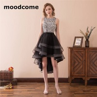 2018 Sexy Illusion Bridesmaid Dresses Mini High Low Organza Crystal Tiered Ruched Custom Made Sleeveless Bridesmaid Gowns
