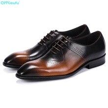 Italian Designer Formal Dress Shoes For Men Oxford Genuine Leather Fashion Black Khaki Pointed Toe Handmade